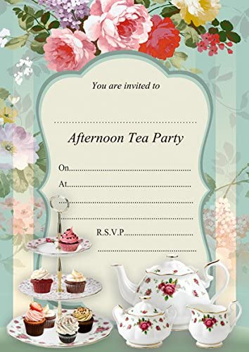with Blue envelopes ABV Designs 10 x Afternoon Tea Birthday Party Invitations