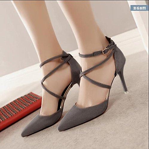camoscio tacco tacco donna con grigio Qiqi tacchi da Baotou 37 scarpe con sandali con Xue in scarpe cava fine AYaqf