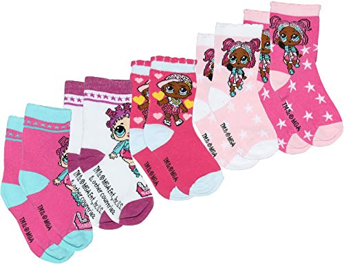 5 pares de L.O.L Surprise. Lol Original – Juego de 5 calcetines de algodón para niña (70 % algodón), tamaño estándar