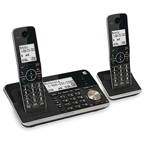 Motorola RT802 DECT 6.0 Expandable Cordless Phone with Bluetooth Connect - Answering System and Smart Call Blocker - Black - 2 Handsets
