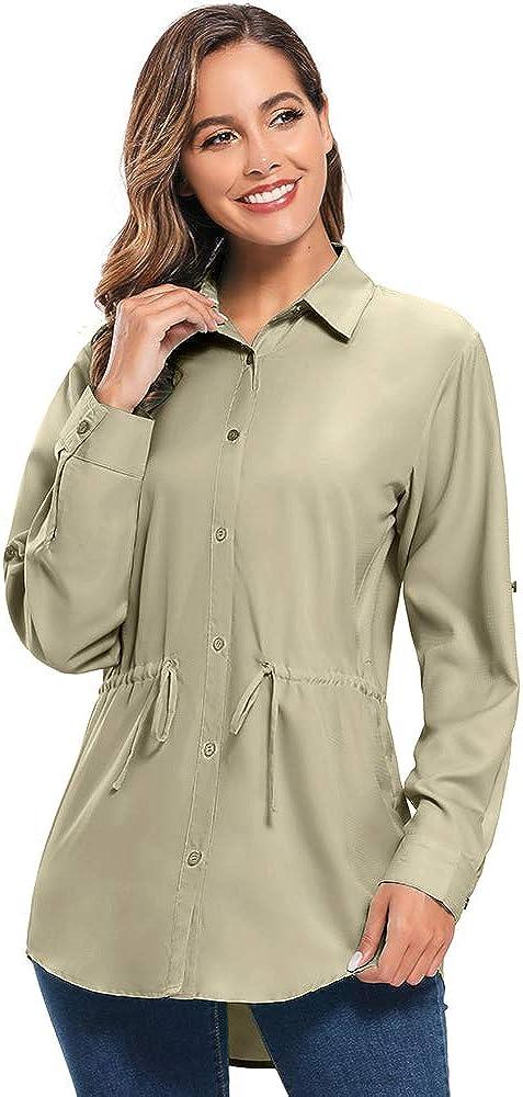 UPF 50 Womens PFG Long Sleeve Hiking Shirt Moisture Wicking UV Sun Protection Safari Shirts