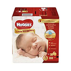 HUGGIES Little Snugglers Baby Diapers, Size Newborn, for 6-9 lbs., 88 Count, Packaging May Vary
