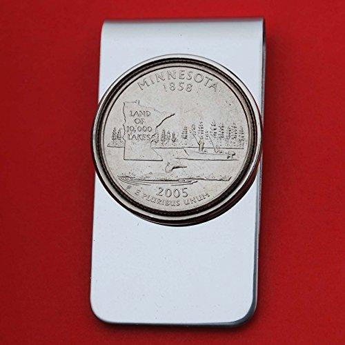 US 2005 Minnesota State Quarter BU Uncirculated Coin Money Clip New - 2005 Minnesota State Quarter