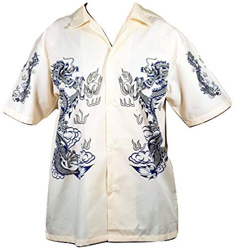 Summer Time Breeze Mens Cotton Short Sleeve Dragon Button Down Shirt (Large, Light Cream) (Dragon Cream Shirt)