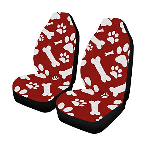 Red Bones Print - InterestPrint Auto Seat Protector 2 Pack, Red and White Dog Paw Prints and Bones Tile Pattern Car Seat Covers Front Seats Only Universal Fit