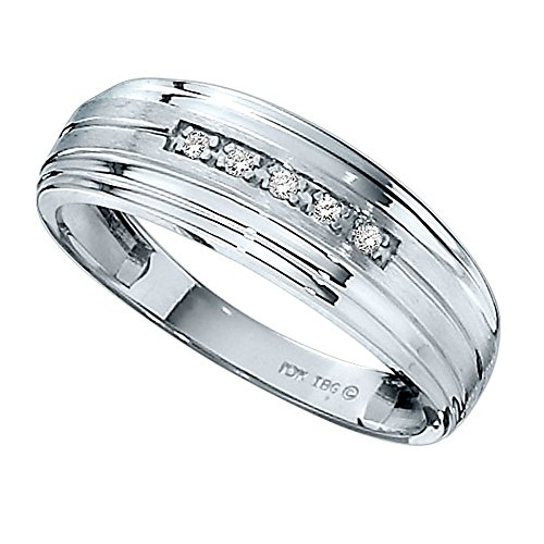 10k White Gold Diamond Wedding Band. Finger Size (Mens Rings Size 10 Diamond)