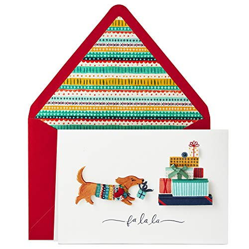 Card Single Pack (Hallmark Signature Christmas Card (Dog with Presents))