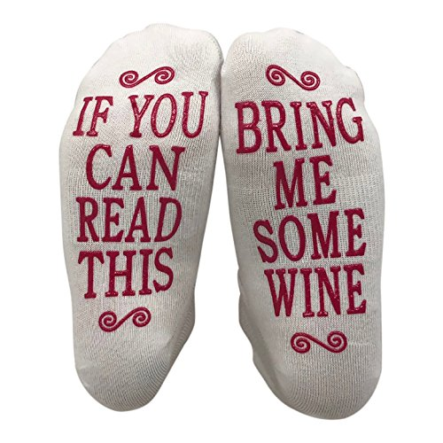 (JINX If You Can Read This Bring Me Some Wine Gift Socks - Perfect Hostess or Housewarming Gift Idea, Birthday Present, or Mother's Day Gift for a Wine Enthusiast,White,One Size fits most)