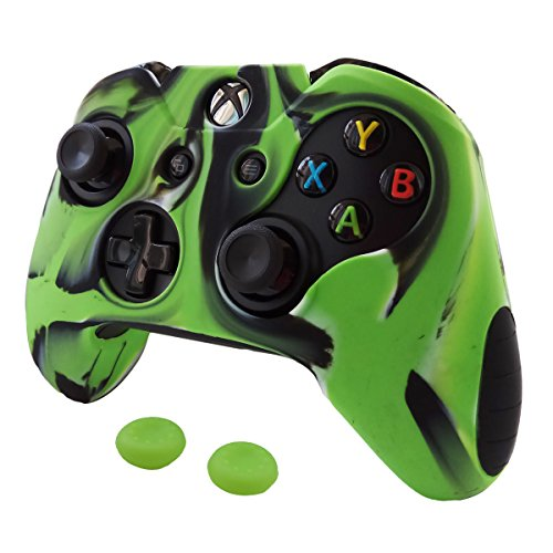 Pandaren Soft Silicone Thicker Skin Cover for Xbox One Controller Set (Camouflage Green skin X 1 + Thumb Grip X 2)