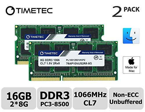 Apple Macbook Ram - Timetec Hynix IC Compatible for Apple 16GB KIT(2x8GB) DDR3 PC3-8500 1066MHz Memory Upgrade for MacBook 13'' Mid 2010, MacBook Pro 13'' Mid 2010, iMac 27''Late 2009, Mac Mini Mid 2010(16GB KIT(2x8GB))