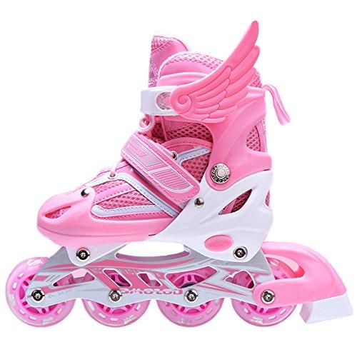 uruoi-unisex-adjustable-glittery-inline-roller-skates-pink-small