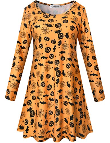 Aphratti Women's Long Sleeve Halloween Costumes Casual Flare Swing Dress Orange X-Small -