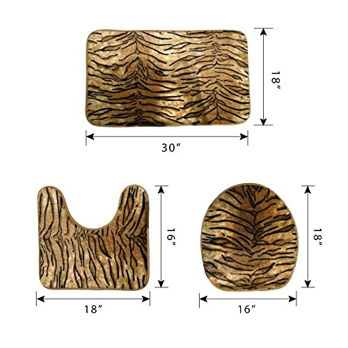Generic Tiger Pattern Toilet Rug Set 3 Pcs Bathroom Mat Rug Lid Toilet Cover free shipping