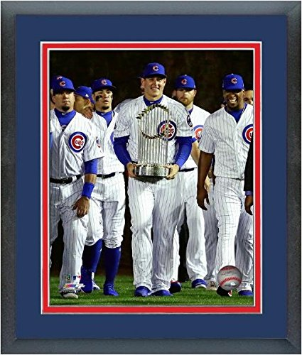 Anthony Rizzo Chicago Cubs 2016 World Series Trophy Photo Framed