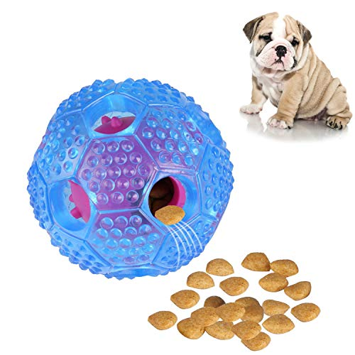 Interactive Dog Toy, IQ Treat Ball Food Dispensing Toys for Small Medium Large Dogs Durable Chew Ball, Nontoxic Rubber and Bouncy Dog Ball, Cleans Teeth