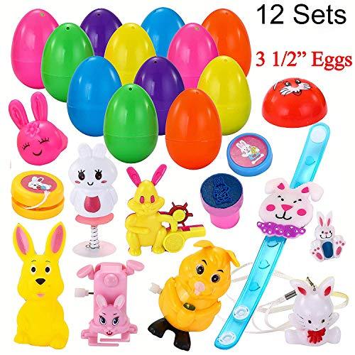 12 PCs Toys Filled Surprise Eggs, 3.25