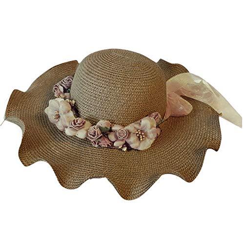 - ☀️☀️1 Pc Women Flower Straw Hat Stripe Floppy Foldable Roll up Beach Cap Holiday Sun Hat Gifts (Khaki)