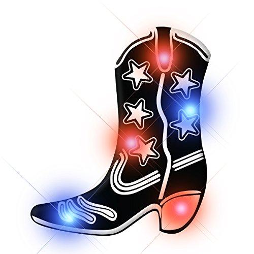 - Light Up Black Cowboy Boot Flashing Blinking LED Body Light Lapel Pins (Set of 25)