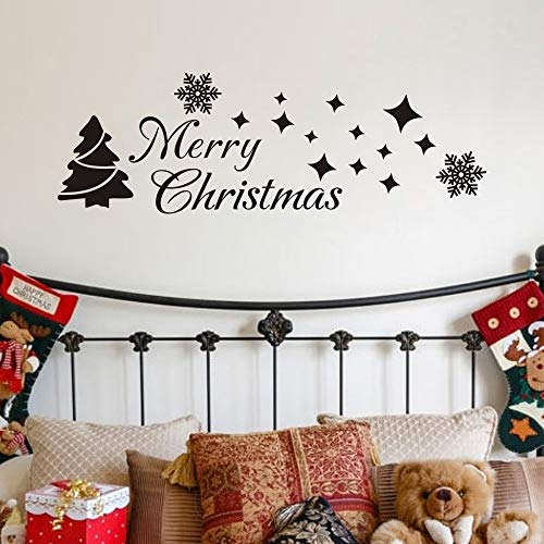 MoharWall Christmas Tree Sticker Winter Snow Wall Decal Merry Christmas Quotes Star Vinyl Art Decor (Of Quotes Best Christmas)