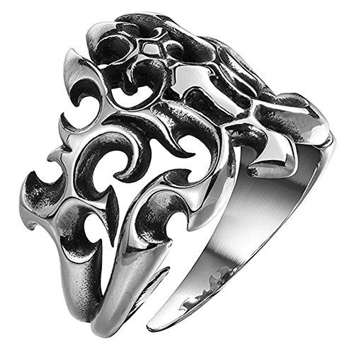 AGOKO Mens Euroupe And America Popular Retro Personality Cross Titanium Steel Ring(Diameter:18.2mm) ()