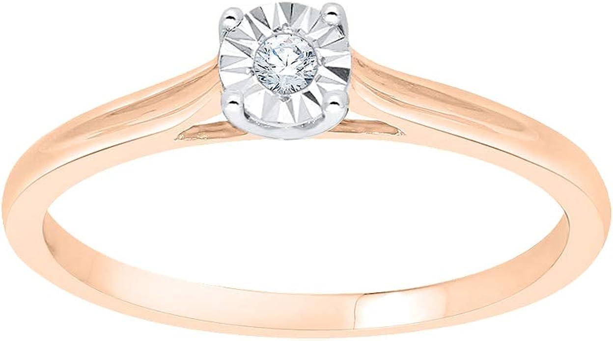 1//20 cttw, 3 Diamond Promise Ring in 14K White Gold G-H,I2-I3 Size-6