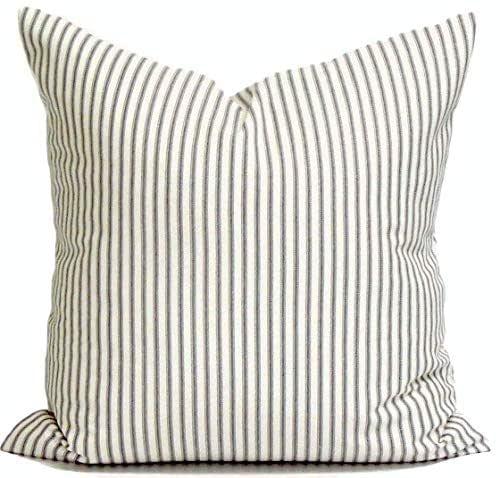 Charcoal Gray Throw Pillow Cover, Ticking Pillow Cover, Ticking Stripe Throw Pillow, Farmhouse Pillow, Farmhouse Decor