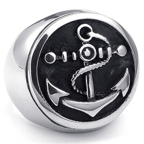 [Aomily Jewelry, Mens Finger Rings Stainless Steel Black Silver Anchor Size 12] (King Triton Costume For Kids)