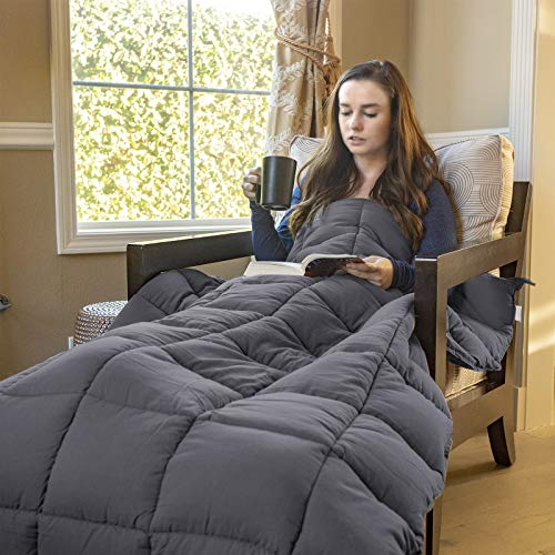 Cheap ZENY Weighted Blanket | 20 lbs for 150-200lb Individual | 60 x 80 | for Adults Children | Premium Breathable Cotton | Grey Black Friday & Cyber Monday 2019