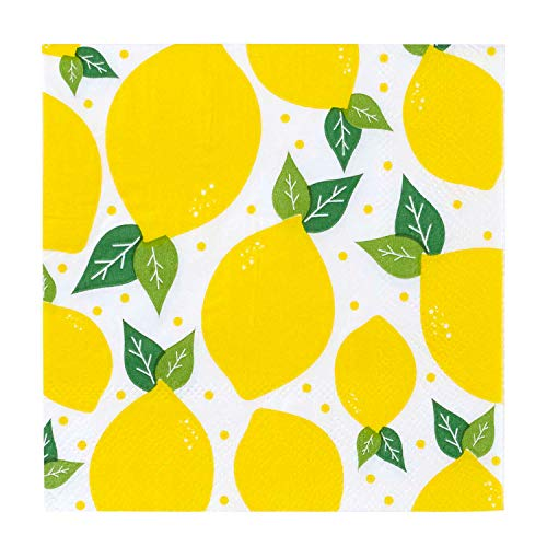 C.R. Gibson Yellow Lemons Paper Cocktail Napkins, 20pc, 5.5'' x 5.5''