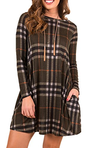 Sleeve Tunic 3/4 Long Sleeve (Boosouly Womens Plaid Striped Swing Tunic Blouse Long Sleeve T-shirt Dress With Pockrts Black L)