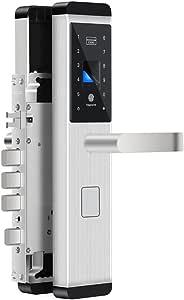 QXX Cerradura de Puerta Digital Fingerprint/Password/Key/Card Lock Cerraduras de Puerta electrónicas Inteligentes para la Oficina en el hogar (Color : La Plata, Tamaño : B)
