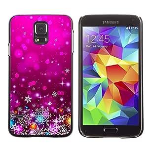 A-type Arte & diseño plástico duro Fundas Cover Cubre Hard Case Cover para Samsung Galaxy S5 (Xmas Christmas Purple Lights Decor)