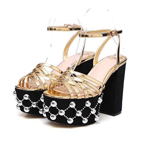Rex rabbit-SS Fetish Round Head High Heels Waterproof Platform Buckle Fashion High Heel Sandals,Gold,34