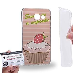 Case88 [Samsung Galaxy A3 (2016)] Gel TPU Carcasa/Funda & Tarjeta de garantía - Art Drawing Sweet As A Cupcake Peach Art0804
