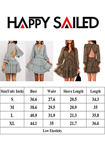 Happy Sailed Women Long Sleeve Ruffle Layer Backless Swing Mini Dresses