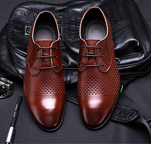 LEDLFIE Chaussures en Cuir Véritable pour Hommes Été Respirant Creux Chaussures Décontractées Chaussures pour Hommes Brown XmxQiGzT