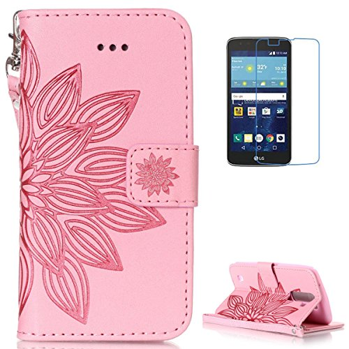 Lg K7 Leather Wallet Case  With Free Screen Protector  Kasehom Mandala Lotus Flower Embossed Folio Magnetic Flip Stand Pu Leather Protective Case Cover Skin Shell Pink  2