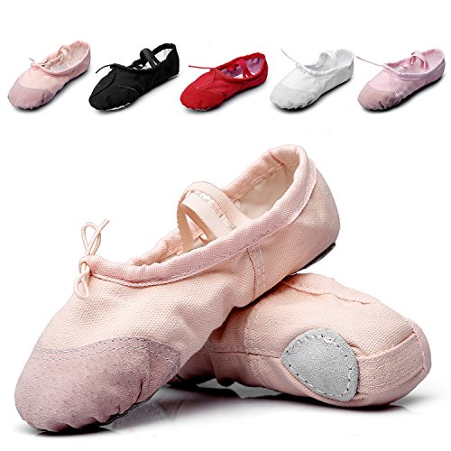 MSMAX Kid Girl's Classic Canvas Practise Ballet Dancing Yoga Shoes,Natural,2 M US