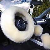 "Yontree Winter Warm Faux Wool Handbrake Cover Gear Shift Cover Steering Wheel Cover 14.96""x 14.96"" 1 Set 3 Pcs (Yellow)"
