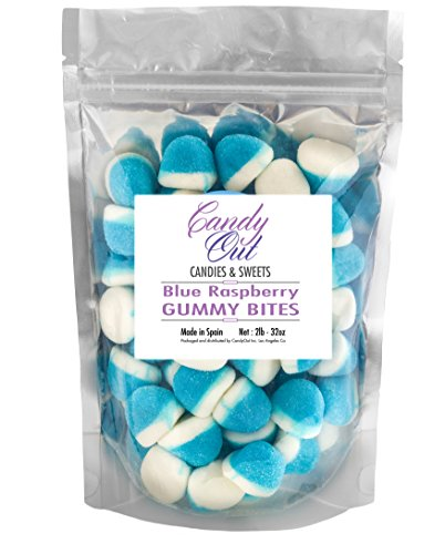 Blue Raspberry Gummy - CandyOut Blue Raspberry Pufflettes 2 Pound Blue & White Gummy Bites in Stand-up Bag