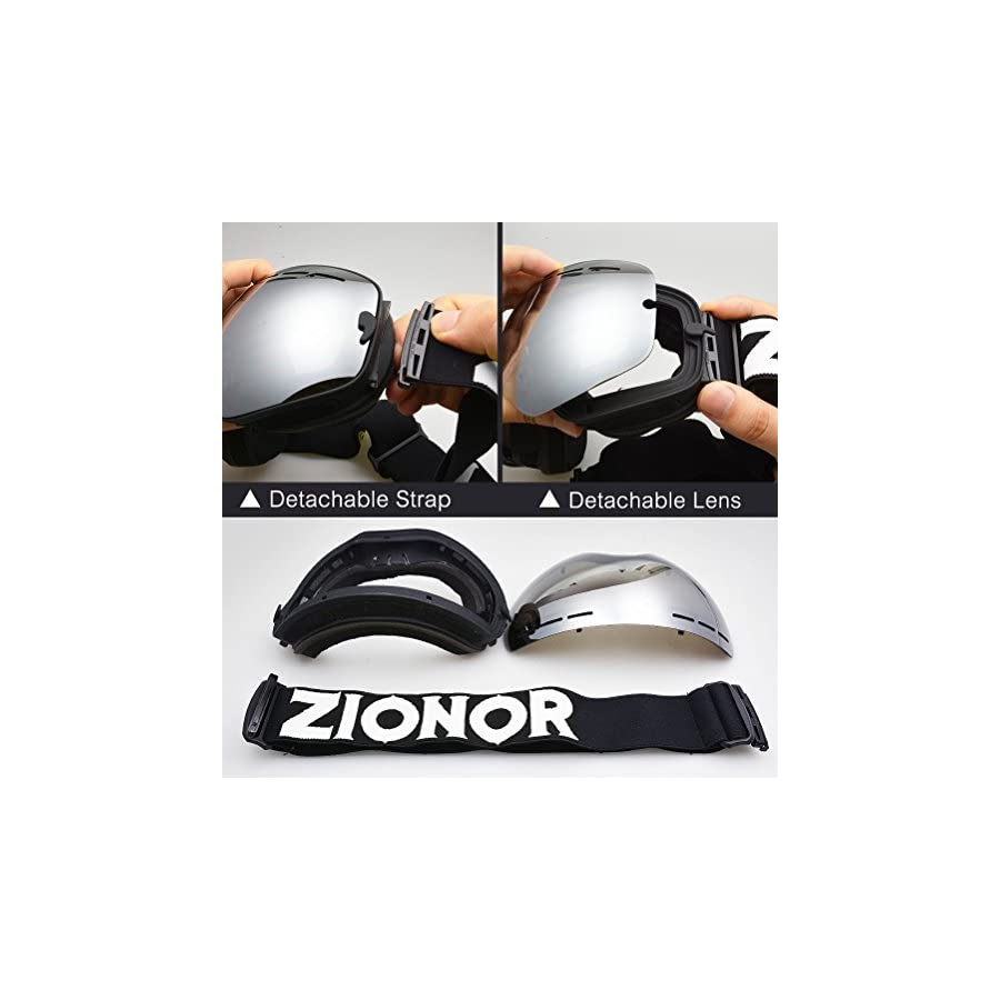 Zionor X Ski Snowboard Snow Goggles OTG Design for Men Women with Spherical Detachable Lens UV Protection Anti fog