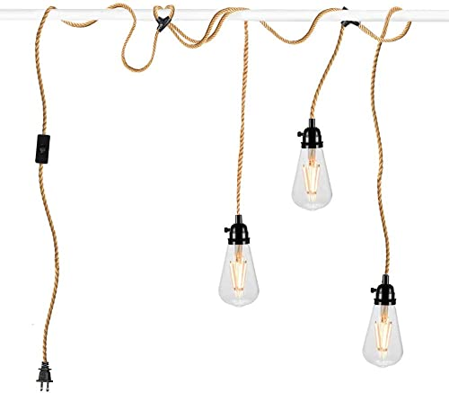 QLG S Hemp String Hanging Lights with Plug in Cord Pendant Light Kit Independent Switch Vintage Pendant Light for Industrial DIY Projects Decoration 22 FT 3 Light