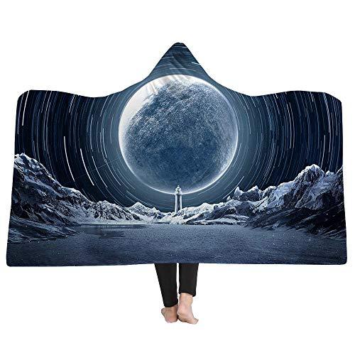 YJZ 3D Hooded Blanket DIY Customization Modern Pattern Throw Blanket Cozy Flannel Cloak Quilt Coat Bathrobe Home Travel, Art Individuality Design,2,Adults -