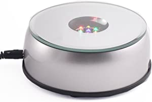 Amlong Crystal 4 Inch Rotating LED Light Display Base with Adaptor, Silver