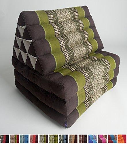 Leewadee Foldout Triangle Thai Cushion, 67x21x3 inches, Kapok Fabric, Green, Premium Double Stitched by Leewadee