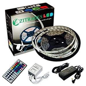 Zitrades 16.4 Ft 3528 Waterproof 300Leds,Rgb Color Changing Kit With Led Flexible Strip+44Key Controller+Ir Remote Box And 12 Volt 4 Amp Power Supply Dc Jack 5.5X2.1Mm,Waterproof