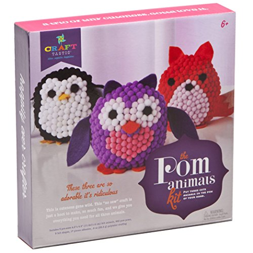 Craft-tastic Pom Stuff Animals - Craft Kit Makes 3 Pompom Stuffed Animals - Owl, Penguin & Fox