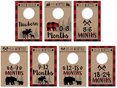 Woodland 0-24 Months Age Size Hanger Organization For Kid Toddler Infant Newborn Clothes Must Have 7 Lumberjack Baby Nursery Closet Organizer Dividers For Boy Clothing Shower Registry Gift Supplies