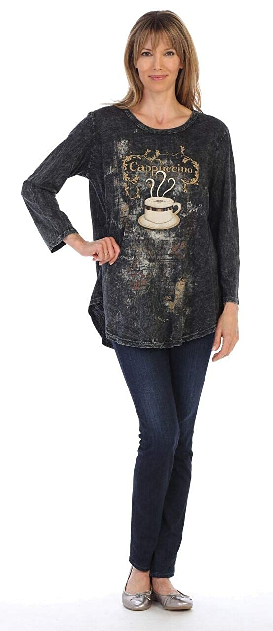 Jess /& Jane Womens Cappuccino Mineral Washed Cotton Tunic Top