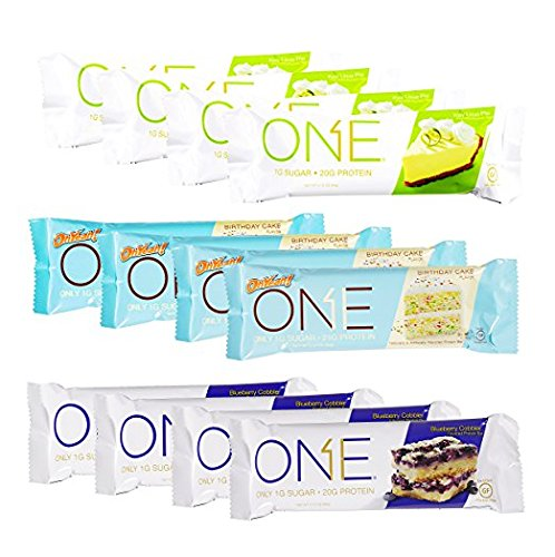 One Bar Summer Birthday Flavors Protein Bar Variety Pack Key Lime Pie, Birthday Cake, and Blueberry Cobbler 12 - Bars New Flavor! (Food Bar Key Lime Pie)
